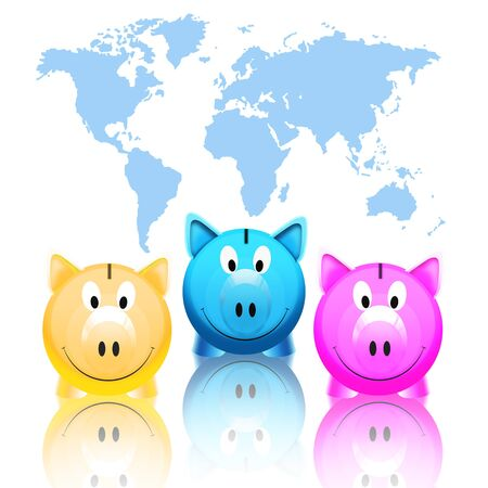 piggy bank with world map isolated on white background photo