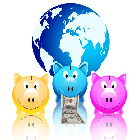 piggy bank with money and globe isolated on white background Stock Photo - 11824525