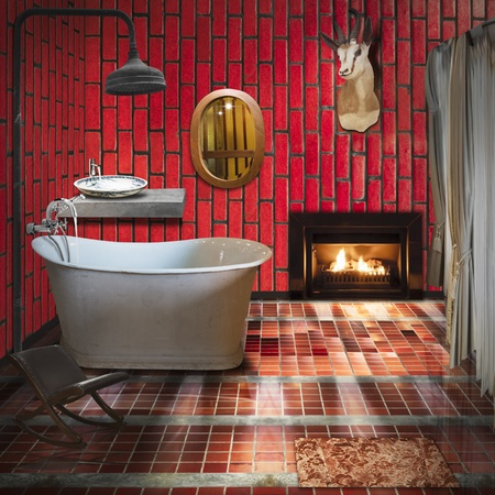 carbuncle: 3D bathroom interior design,fashion and retro style Stock Photo