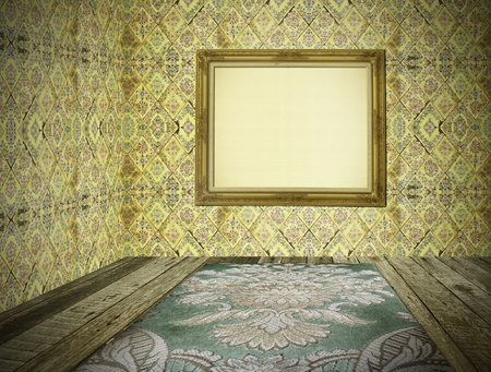 blank vintage room interior with golden frame Stock Photo - 11823649