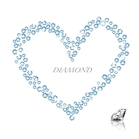 diamond heart on white background ,love valentine Stock Photo - 11824847