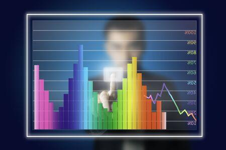 firm: businessman touching stock market graph
