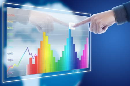 businessman point finger to stock market graph Stock Photo - 11824849