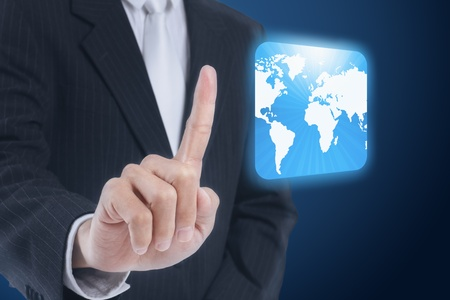 businessman pressing world map touch screen button Stock Photo - 11824649