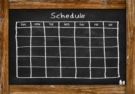 school schedule: chalkboard with schedule and calendar