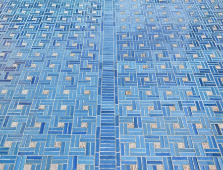 tile flooring: blue tile floor decorated,classic interior design Stock Photo