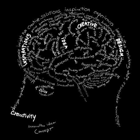 kopf: Gehirn-Design, Idee und kreative Konzept