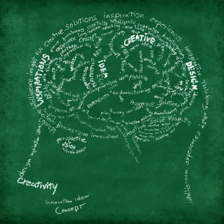 neuron: Brain drawing on chalkboard ,idea and creative concept
