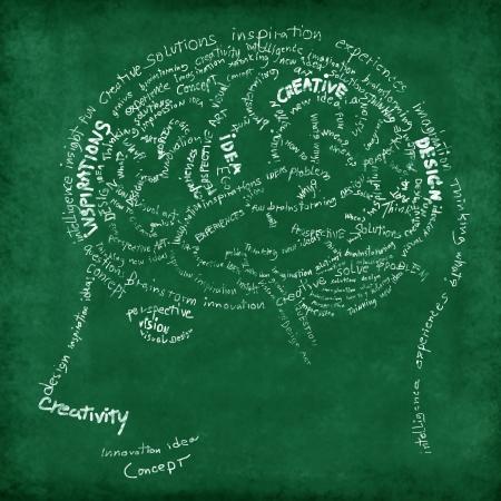neurona: Cerebro de dibujo en la pizarra, la idea y concepto creativo