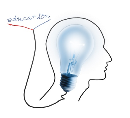 Brain drawing with light bulb ,concept for education and intelligence photo