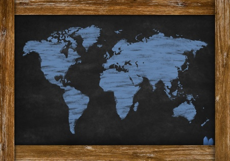 chalk drawing world map on chalkboard photo