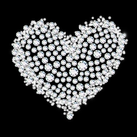 diamond heart on black background ,love valentine Stock Photo - 11823933