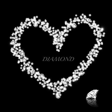coeur diamant: Coeur de diamant sur fond noir, l'amour valentine Banque d'images