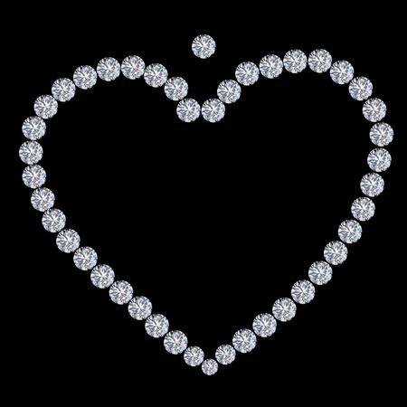 diamond heart on black background ,love valentine Stock Photo - 11825716
