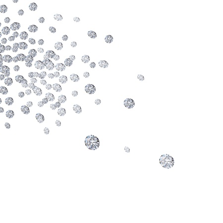 falling diamonds on white background photo