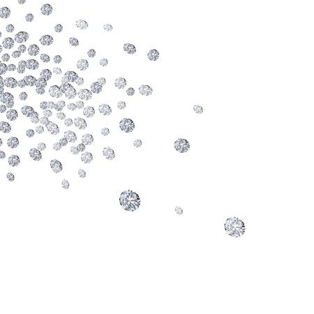 vallende diamanten op een witte achtergrond Stockfoto