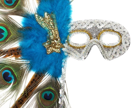 Fantasy mask with peacock feathers photo