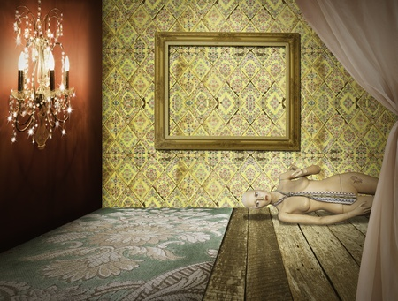 luxury hotel room: Fashion retro room interior design