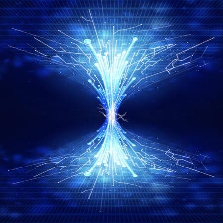 on high: fibra óptica y la placa de circuito, fondo de tecnología