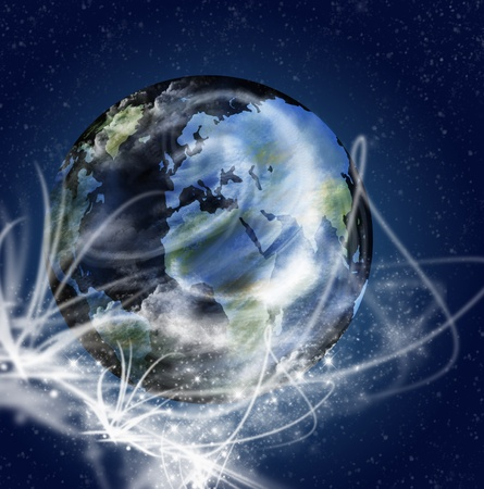 transparent globe: Globe in space with ray lighting