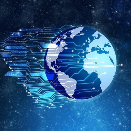 Globe with circuit board  Stock Photo