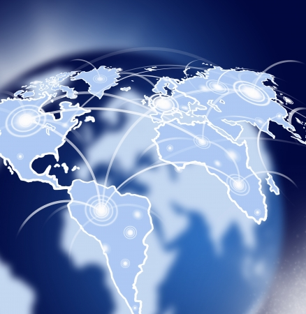 Globe in space with social network Stock Photo