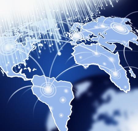 fibre optique: Globe avec la fibre optique dans l'espace