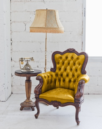 golden leather chair photo