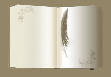 golden note book with feather pen photo