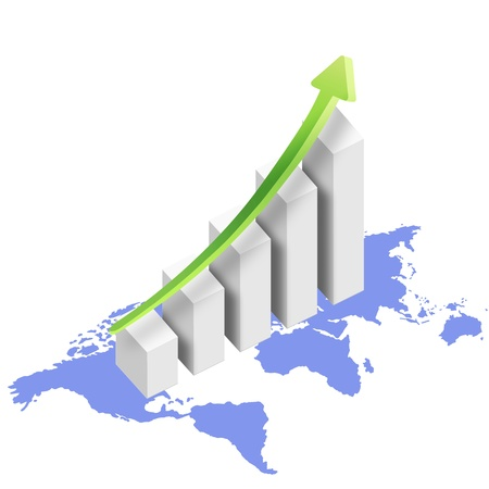 graph with world map and rising arrow Stock Photo - 11820606