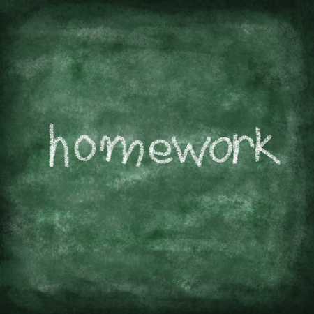 green chalkboard with homework text photo