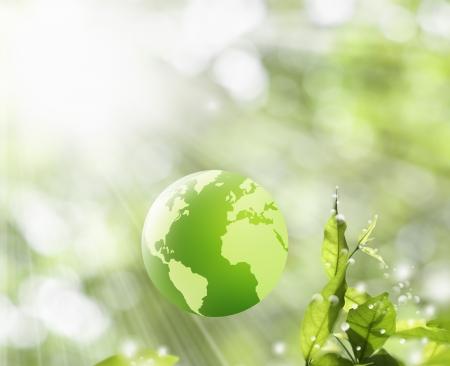 reciclar vidrio: Green Globe en la naturaleza de fondo, el concepto verde