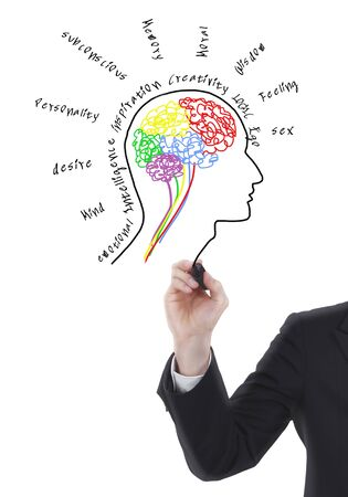 Brain drawing with wording photo