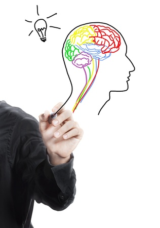 Hand drawing human brain ,thinking of new idea photo