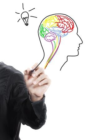 Hand drawing human brain ,thinking of new idea photo