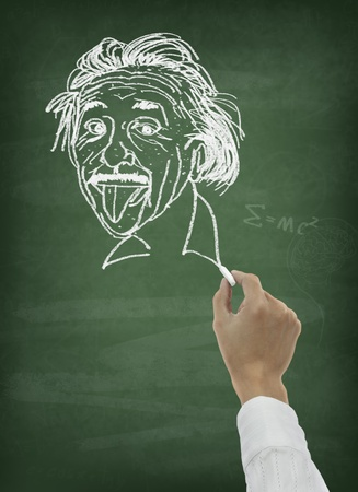 Hand drawing scientist portrait on greenboard