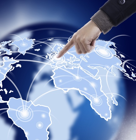 Hand pressing map in cyber space Stock Photo - 11825060