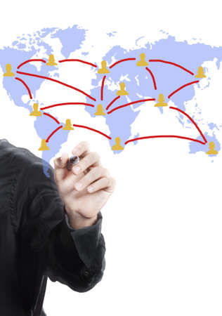 Hand with free hand drawing of  world map ,social network Stock Photo - 11821262