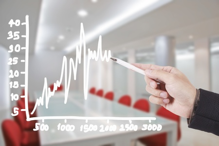 firm: hand writing graph in conference room Stock Photo