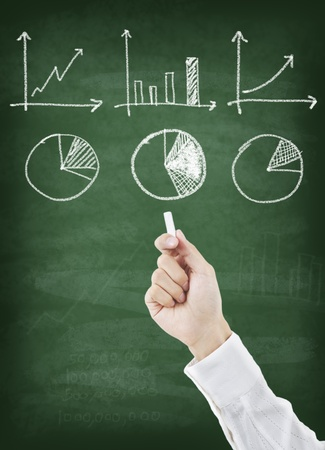 Hand drawing graph on chalkboard Stock Photo - 11825834