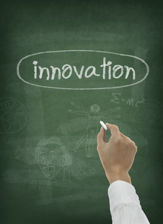 classroom training: Hand writing innovation word on greenboard Stock Photo