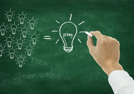 teacher training: Hand writing light bulb on chalkboard Stock Photo