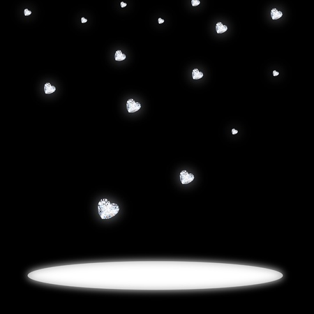 heart diamond  falling on black background Stock Photo - 11820607