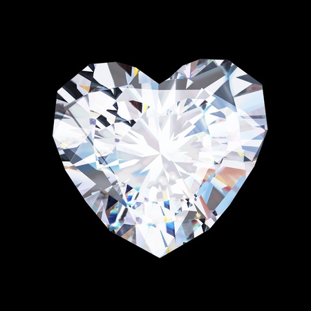 heart diamond  on black background Stock Photo - 11822829