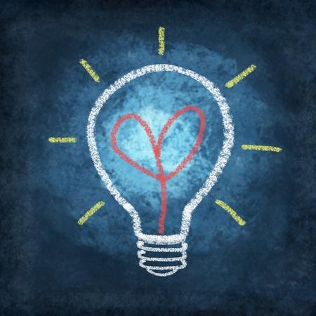 light duty: heart in light bulb drawing by chalk