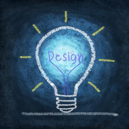 new thinking: lampadina, il pensiero idea di nuova concezione, disegno di gesso