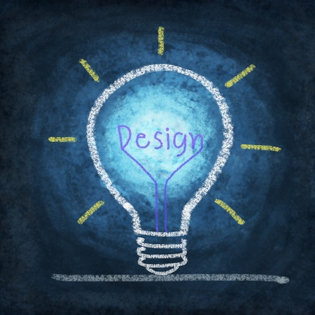 intelligent solutions: light bulb ,concept thinking new idea ,drawing by chalk