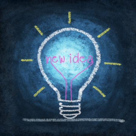 light bulb ,concept thinking new idea ,drawing by chalk Stock Photo - 11825289