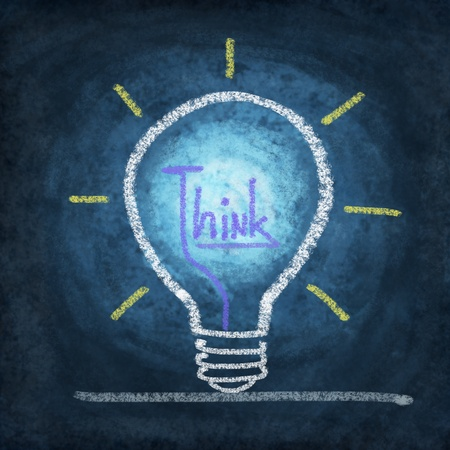 light bulb ,concept thinking new idea ,drawing by chalk Stock Photo - 11825286