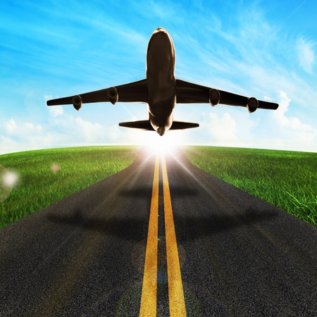 cockpit: long road and plane in beautiful nature  Stock Photo